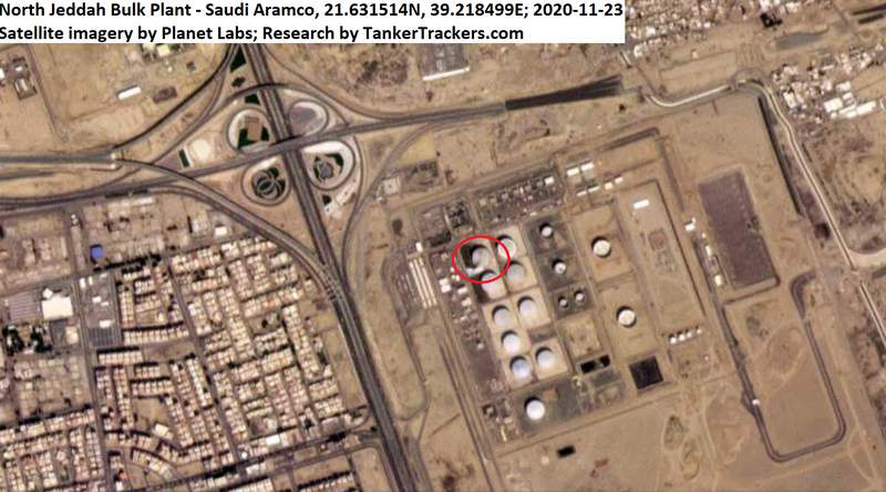 This Monday, Nov. 23, 2020 satellite image from Planet Labs Inc. annotated by TankerTrackers.com, shows a damaged tank and fire-suppressing foam on the ground at a Saudi Arabian Oil Co. facility in Jiddah, Saudi Arabia. Yemen's Houthi rebels said they struck a Saudi oil facility in the port city of Jiddah on Monday with a new cruise missile, just hours after the kingdom finished hosting its virtual Group of 20 leaders summit. (Planet Labs Inc. via AP)