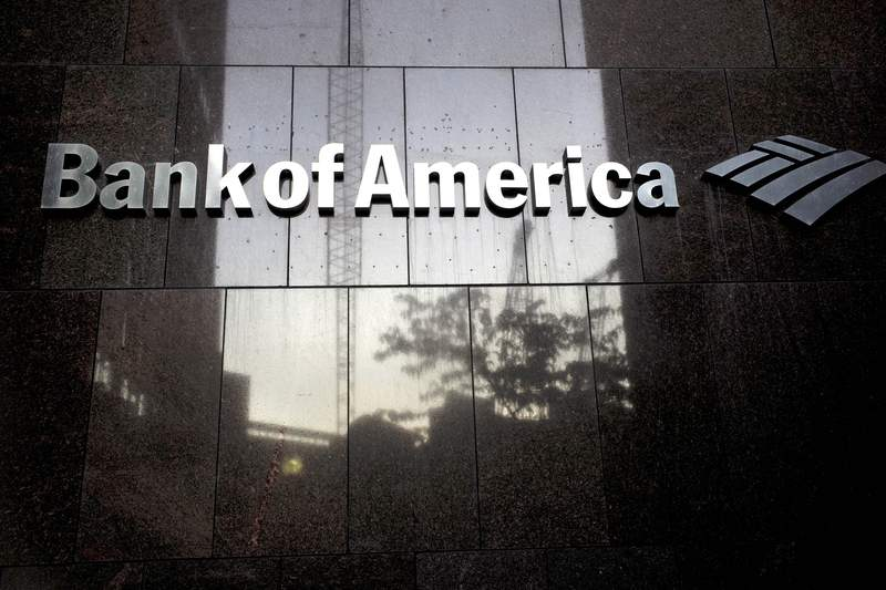 FILE - In this Oct. 14, 2019 file photo a Bank of America logo is attached to the exterior of the Bank of America Financial Center building, in Boston.  On Tuesday, Jan. 19, 2021, Bank of America reported fourth-quarter profits fell 18% from a year ago, as lower interest rates weighed down the bank. However the bank was able to release more than $800 million from its credit reserves, in a sign that it sees the U.S. economy improving in the coming months. (AP Photo/Steven Senne, File)