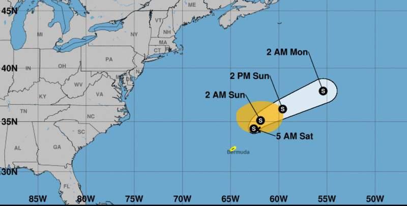 Subtropical storm Ana formed near Bermuda early Saturday morning.