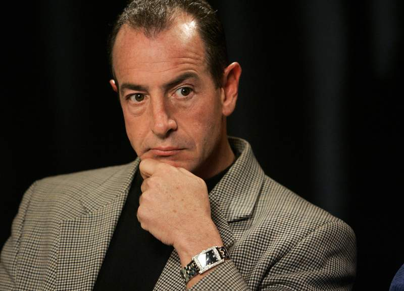 FILE - In this Wednesday, Oct. 24, 2007, file photo, Michael Lohan is interviewed in New York. The estranged father of actress Lindsay Lohan was arrested Friday, April 23, 2021, on charges that he illegally took kickbacks for referring patients to a substance abuse treatment center. The Palm Beach Post reports that 60-year-old Michael Lohan was booked into jail on five counts of patient brokering and one count of conspiracy to commit patient brokering. (AP Photo/Richard Drew, File)