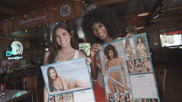 Hooters girls Gianna Tulio, who works at the Boca Raton location, and Briana Smith, who works at the Sunrise location, are featured in the 2019 Hooters calendar.