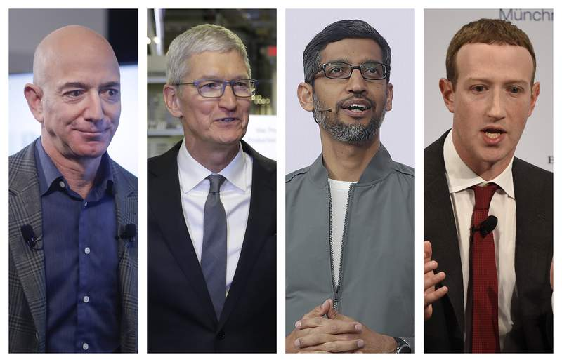 FILE - This file combination of 2019-2020 photos shows Amazon CEO Jeff Bezos, Apple CEO Tim Cook, Google CEO Sundar Pichai and Facebook CEO Mark Zuckerberg.In a report issued Tuesday, Oct. 6, 2020, Democratic lawmakers called for Congress to rein in Big Tech, possibly forcing Facebook, Google, Amazon and Apple to sever their dominant platforms from their other lines of business and imposing new uniformity on the terms they offer users. (AP Photo/Pablo Martinez Monsivais, Evan Vucci, Jeff Chiu, Jens Meyer, File)