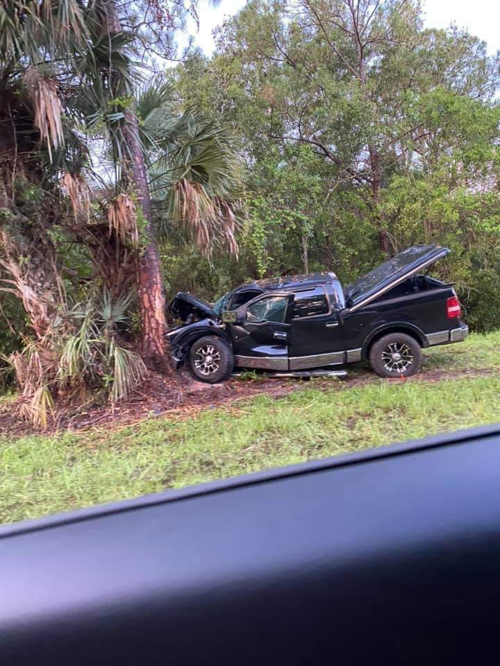 This truck crashed into a tree is at the spot near Randolph Siding Road and Alexander Run in Palm Beach County where Broward firefighter Jim Von Minden is believed to have gone missing.