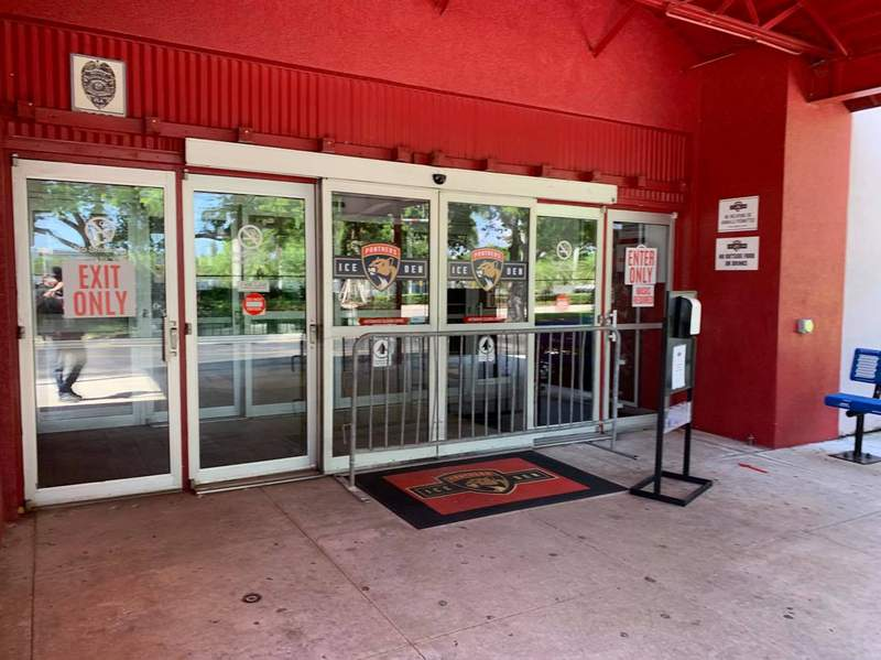 The entrance to the Coral Springs Ice Den before a Florida Panthers training camp practice on July 15, 2020.