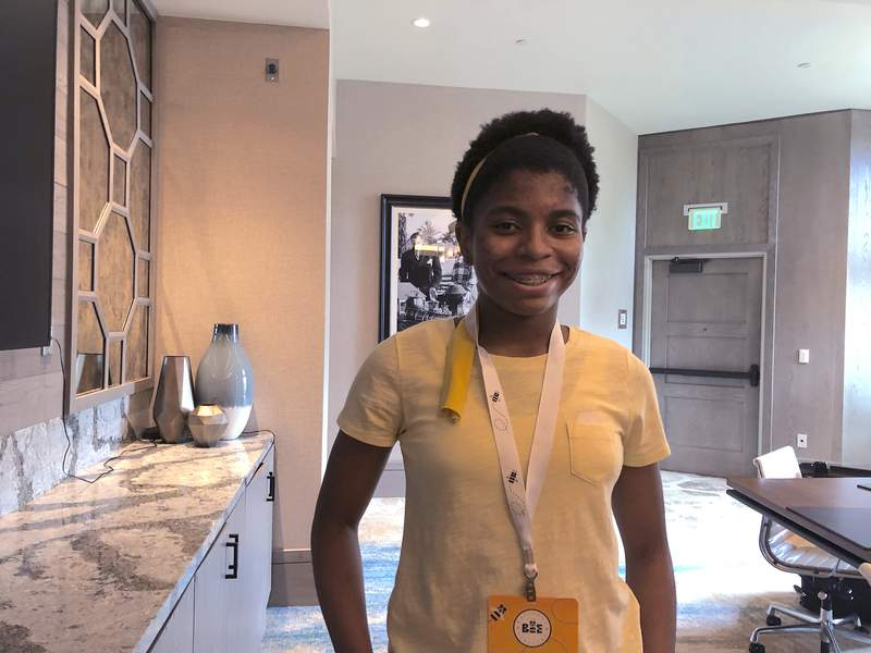 Zaila Avant-garde of Harvey, La., poses for a photo, Wednesday, July 7, 2021, at a hotel in Lake Buena Vista, Fla. where she is preparing to compete in the finals of the Scripps National Spelling Bee. With a victory, 14-year-old Zaila would become the second Black national spelling champion, and the first Black American. (AP Photo/Ben Nuckols)