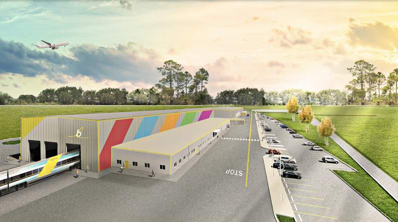 The 109,000 square-foot Orlando Vehicle Maintenance Facility. Rendering by Brightline.