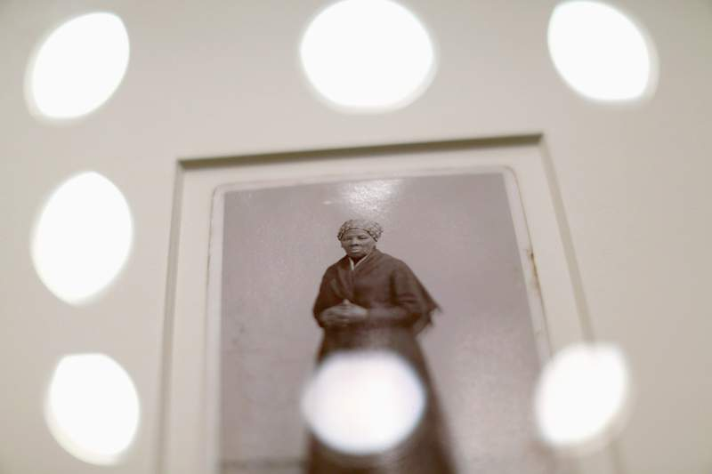 A recently found photograph of escaped slave, abolitionist and Union spy Harriet Tubman that was acquired by the Smithsonian, is displayed before a hearing of the House Administration Committee in the Longworth House Office Building on June 17, 2015 in Washington, D.C.  Auburn, New York, photographer H. Seymour Squyer made the photograph around 1885.