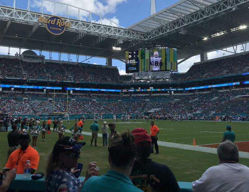 A Miami Dolphins game at Hard Rock Stadium.