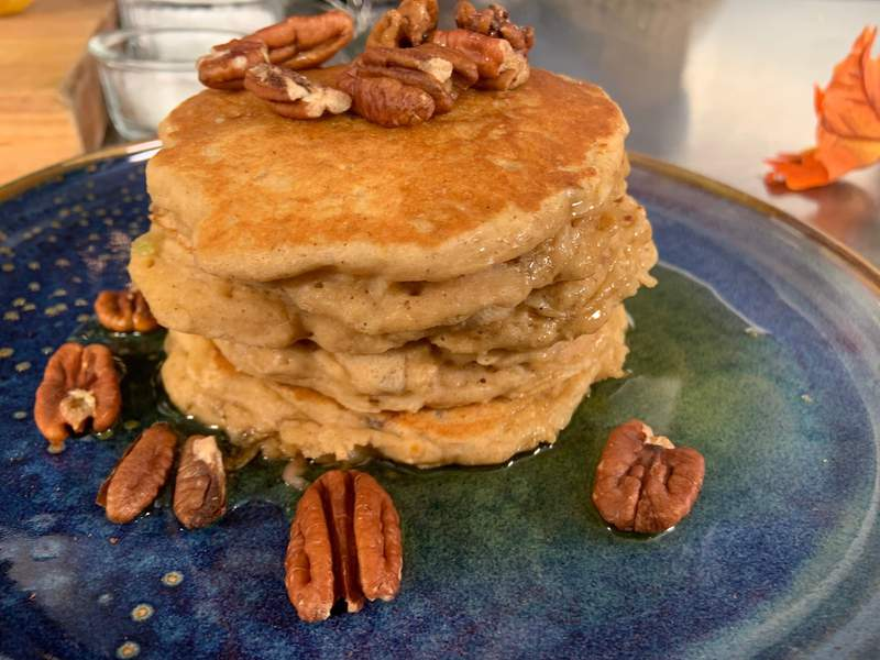 Apple-Pecan Pancakes with Maple/Apple Syrup