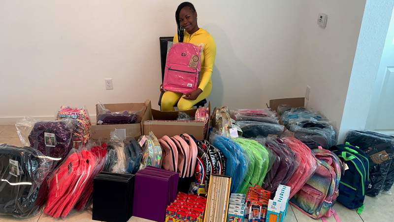 Takira Brown, 21, is asking the community for help with collecting backpacks for children who are in foster care in South Florida.