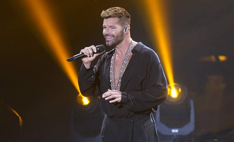 Ricky Martin performs for the 21st Latin Grammy Awards, airing on Thursday, Nov. 19, 2020, at American Airlines Arena in Miami. (AP Photo/Marta Lavandier)