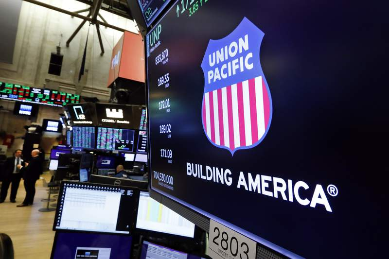 FILE - In this Sept. 13, 2019, file photo the logo for Union Pacific appears above a trading post on the floor of the New York Stock Exchange. Union Pacifics fourth quarter profit chugged ahead as shipping volume improved for the first time since before the coronavirus pandemic slowed the economy to a crawl last year. The Omaha, Nebraska-based railroad said Thursday, Jan. 21, 2021, that it earned $1.38 billion, or $2.05 per share, in the quarter, but the results were weighed down by a one-time charge of $278 million.  (AP Photo/Richard Drew, File)