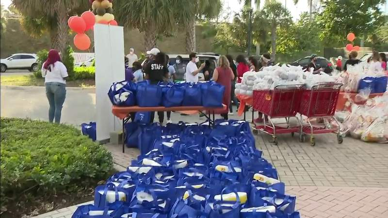 Families grateful for holiday food giveaways following tough year for many across South Florida
