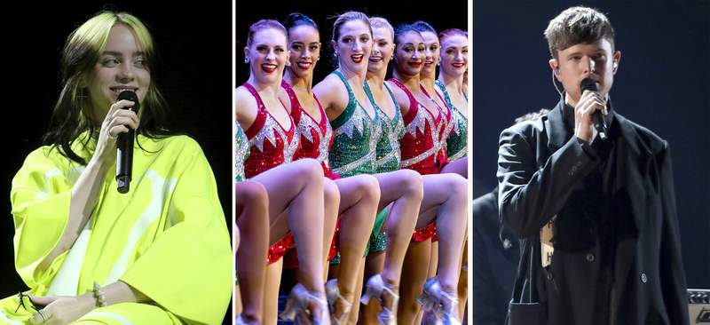 """In this combination photo, Billie Eilish, from left, performs at Spotify Best New Artist Party on Jan. 23, 2020, in West Hollywood, Calif., the Rockettes perform during the Christmas Spectacular on Nov. 25, 2019, in New York and James Blake performs at the 61st annual Grammy Awards on Feb. 10, 2019, in Los Angeles. Eilish's concert film """"Happier Than Ever: A Love Letter to Los Angeles"""" will premiere on the Apple TV+ streaming service globally Sept. 3, 2021. Madison Square Garden Entertainment Corp. said Thursday, July 22, 2021, the """"The Christmas Spectacular""""  starring the Rockettes precision-dance team, will be back this holiday season with performances at Radio City Music Hall from Nov. 5, 2021 to Jan. 2, 2022.And Blake has announced his first new full-length album in three years, """"Friends That Break Your Heart"""", due Sept. 10, 2021, and a tour this fall. (AP Photo)"""