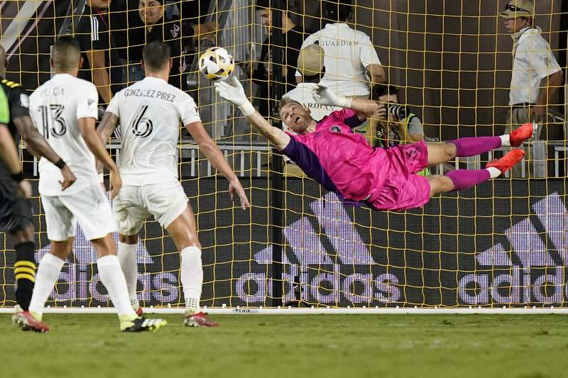 Inter Miami goalkeeper Nick Marsman makes a save during the second half of the team's MLS soccer match against the Columbus Crew, Saturday, Sept. 11, 2021, in Fort Lauderdale, Fla. Inter Miami won 1-0.