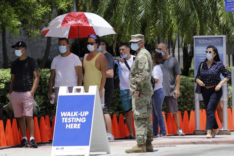 People wait in line at a walk-up testing site for COVID-19 Tuesday in Miami Beach.