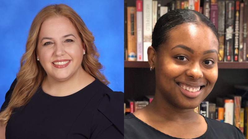 Vanessa M. Valle, a teacher at Hialeah Gardens Senior High School, left, and Kalyn Lee, a teacher at Miami Carol City Senior High School, right, won awards on Thursday night in Miami-Dade.