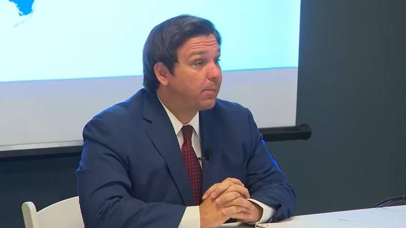 Gov. Ron DeSantis speaks at July 7 COVID-19 news conference in Miami.