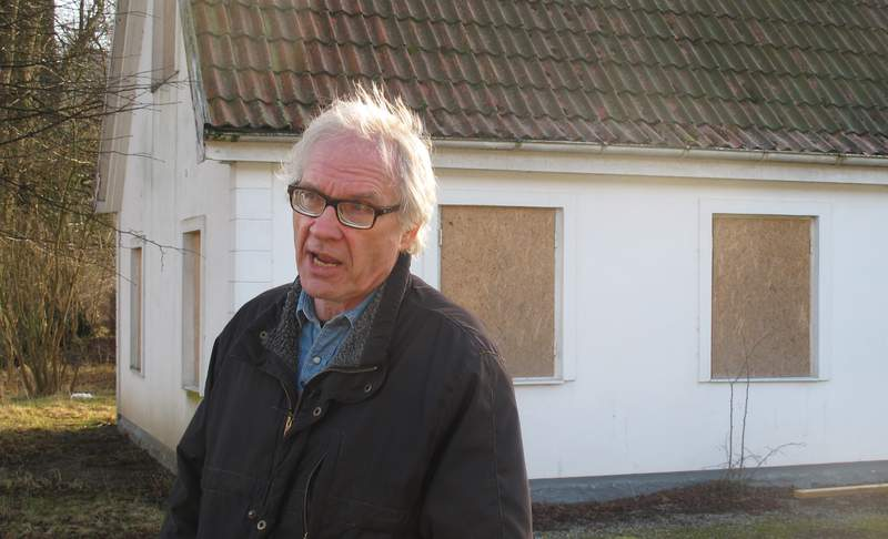 FILE - Swedish artist Lars Vilks speaks during an interview with The Associated Press in Malmo, Sweden, Wednesday March 4, 2015. Vilks, who had lived under police protection since his 2007 sketch of the Prophet Muhammad with a dogs body brought death threats, died from a traffic accident Sunday, Oct. 3, 2021 Swedish news media reported. (AP Photo/David Keyton)