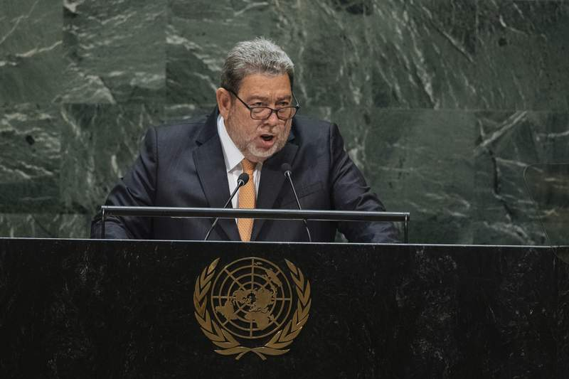 FILE - In this Sept. 27, 2019 file photo, Saint Vincent and the Grenadines' Prime Minister Ralph Gonsalves addresses the 74th session of the United Nations General Assembly at the U.N. headquarters. Gonsalves was hospitalized after a demonstrator threw a rock at his head during an anti-vaccine protest in the eastern Caribbean island, officials said late Thursday, Aug. 5, 2021. (AP Photo/Kevin Hagen, File)