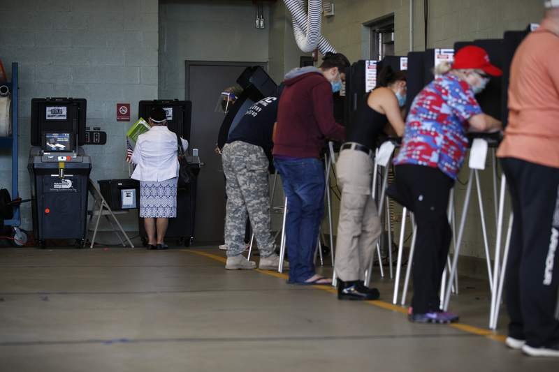 Voters fill out their ballots inside a polling place at Indian Creek Fire Station #4 in Miami Beach, Fla., on Election Day, Tuesday, Nov. 3, 2020.(AP Photo/Rebecca Blackwell)