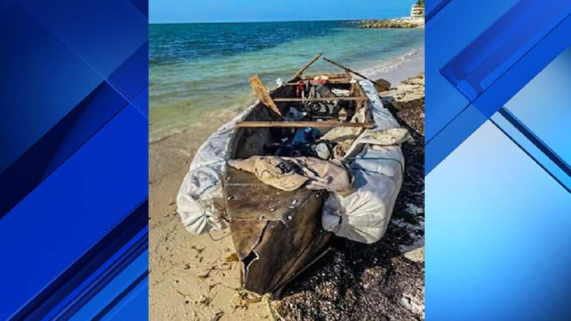 U.S. Border Patrol agents say six Cuban migrants were aboard this boat when they came ashore in Monroe County.