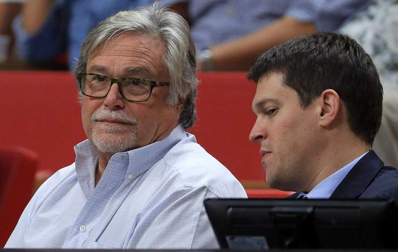 Miami Heat owner Micky Arison looks on during a preseason game against the Brooklyn Nets at American Airlines Arena on October 11, 2016 in Miami, Florida.