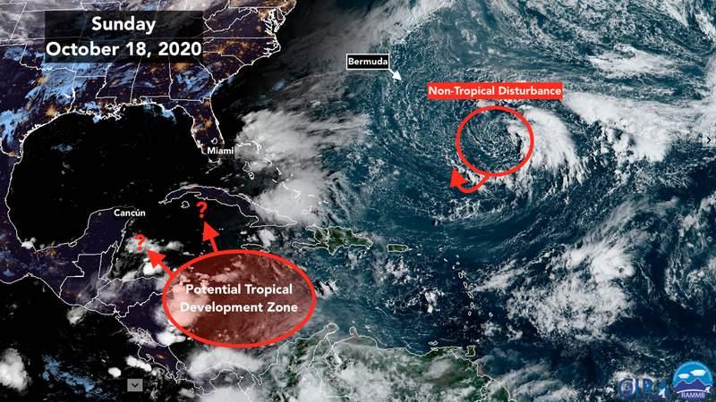 Satellite image of tropic Atlantic and Gulf.