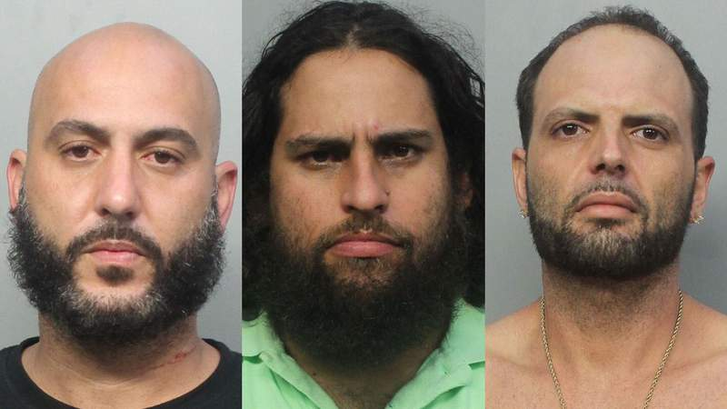 From left, Jorge Hernandez, Daniel Garcie and Frankie Murado face charges in Miami-Dade County.
