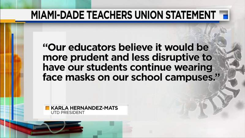 United Teachers of Dade opposes making face masks optional at schools