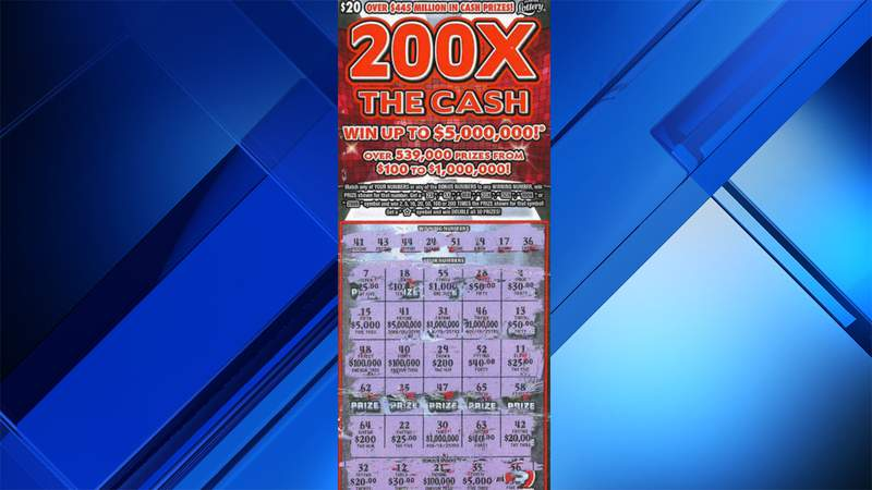 This scratch-off ticket revealed a $5 million top prize for a Florida Lottery player.