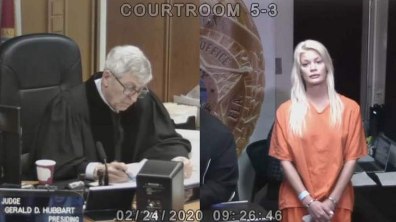 Cheyenne Lutek faces a judge after police arrest her outside of a venue at the South Beach Wine and Food Fest in Miami Beach.