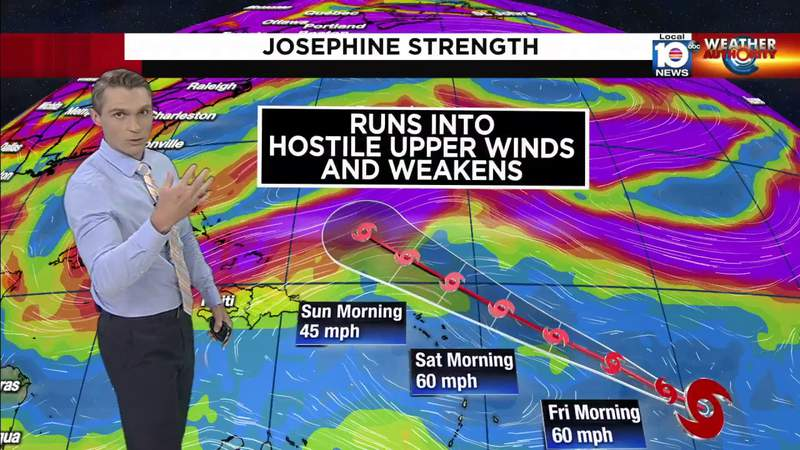 Tropical Storm Josephine will run into some hostile winds