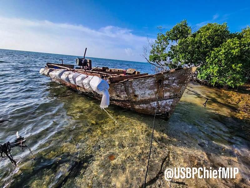 Wooden vessel carrying Cuban migrants.