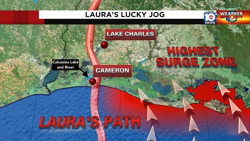 Hurricane Laura landfall site.