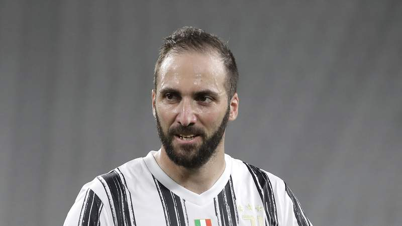 Gonzalo Higuain looks on during a Serie A soccer match between Juventus and Roma in Turin, Italy, on Aug. 1.