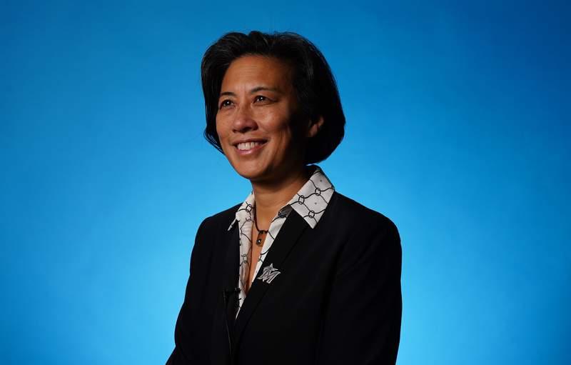Kim Ng is introduced as the Marlins' general manager at Marlins Park on Nov. 16, 2020.