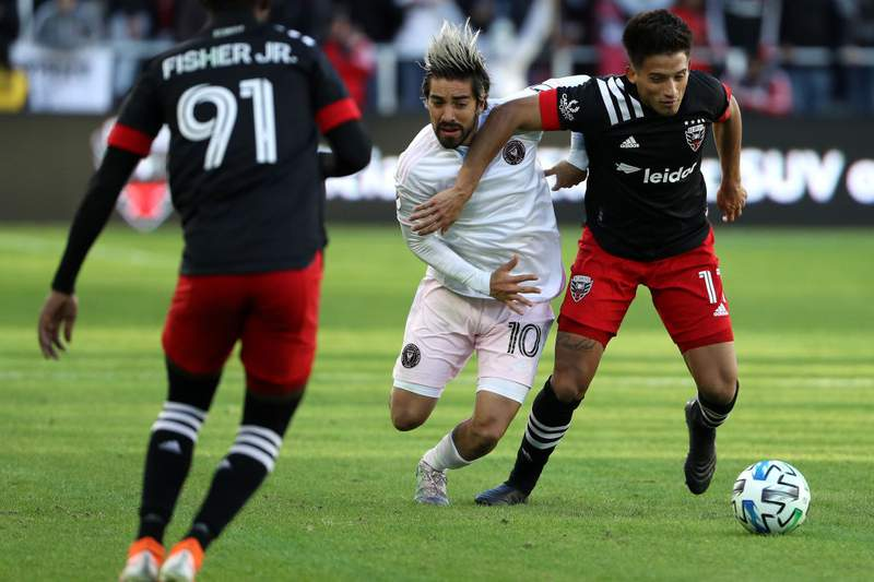 WASHINGTON, DC - MARCH 07: Yamil Asad #11 of D.C. United and Rodolfo Pizarro #10 of Inter Miami battle for the ball during the second half at Audi Field on March 7, 2020 in Washington, DC.