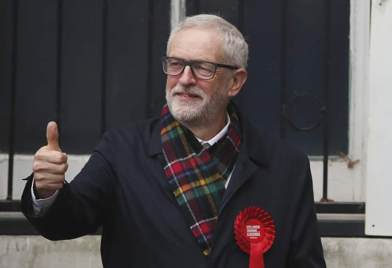 FILE - In this Thursday, Dec. 12, 2019 file photo, British opposition Labour Party leader Jeremy Corbyn, gestures after casting his vote in the general election, in Islington, London, England. Ex-Labour Party leader Jeremy Corbyn said Tuesday Nov. 17, 2020, he has been reinstated to the U.K. opposition party after a three-week suspension  a decision that touched off fury from Jewish leaders angry about anti-Semitism in Labour that flourished during his tenure. (AP Photo/Thanassis Stavrakis, File)