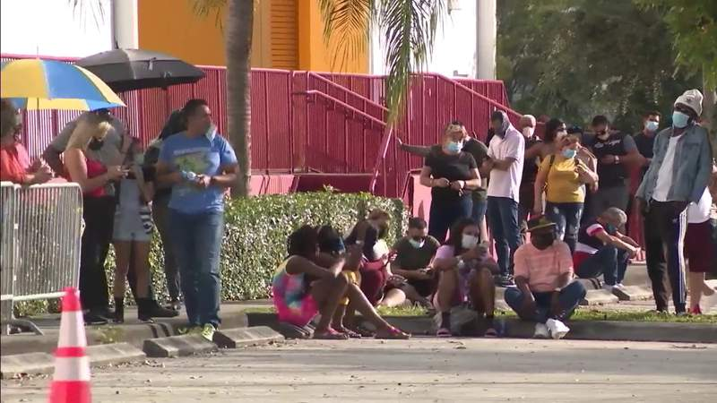 Demand for hot bargains prompts long line outside Miami Gardens store