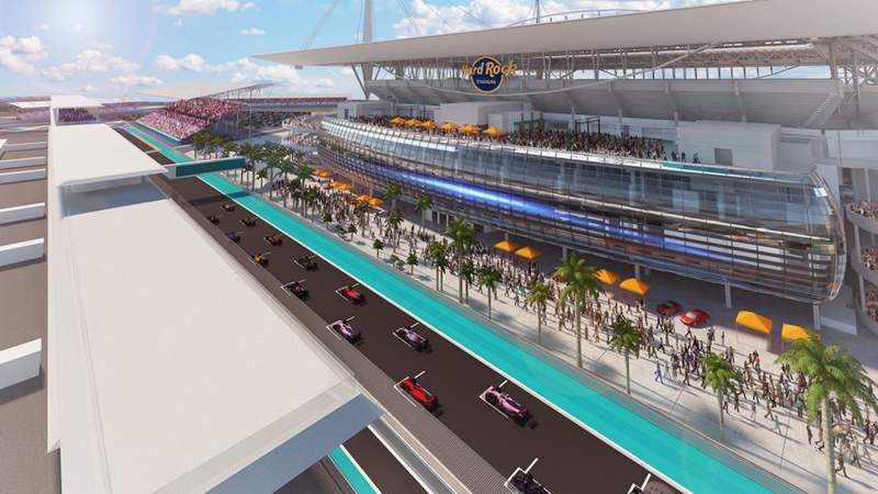 This is a rendering of the Formula 1 race track that will be built outside Hard Rock Stadium in Miami Gardens.