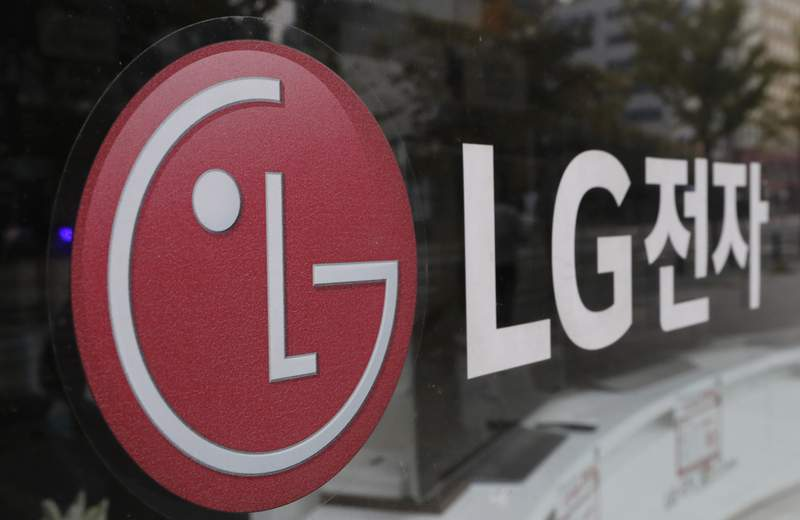 FILE - This Oct. 26, 2017 file photo shows the corporate logo of LG Electronics in Goyang, South Korea. LG Energy Solution says it will invest more than $4.5 billion in its U.S. battery production business by 2025 as automakers ramp up production of electric vehicles. The Korean company, which has a joint venture with General Motors, said the investment will help create 10,000 jobs.    (AP Photo/Lee Jin-man, File)
