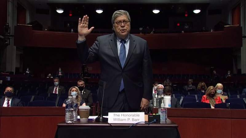 Attorney General Bill Barr testifies during heated hearing on Capitol Hill