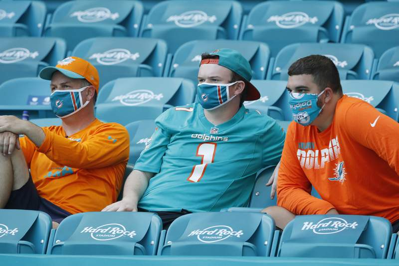 Miami Dolphins fans look on during the second half against the Buffalo Bills at Hard Rock Stadium on September 20, 2020.