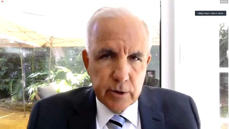 Miami-Dade County Mayor Carlos Gimenez speaks at Sept. 29 virtual news conference.