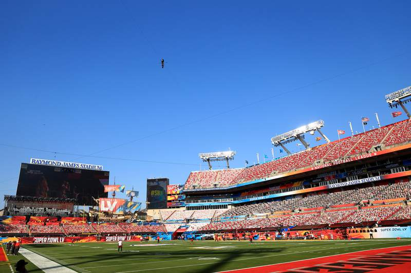 A general view of Raymond James Stadium before Super Bowl LV between the Tampa Bay Buccaneers and the Kansas City Chiefs on February 07, 2021 in Tampa, Florida. (Photo by Mike Ehrmann/Getty Images)