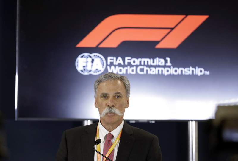 FILE - In this file photo dated Thursday, Oct. 31, 2019, Formula One chairman Chase Carey speaks during a news conference at the Formula One U.S. Grand Prix auto race at the Circuit of the Americas, in Austin, USA.  Carey said Monday April 27, 2020, he is increasingly confident the season can start in July despite the first 10 races being canceled or postponed amid the coronavirus pandemic. (AP Photo/Darron Cummings, FILE)