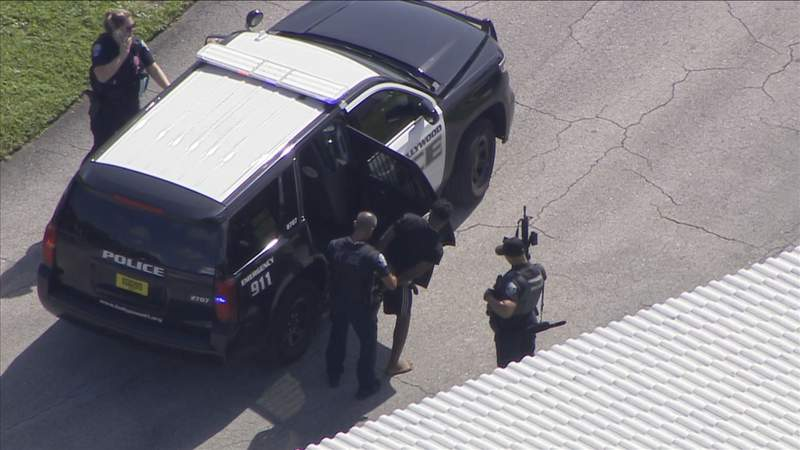 Sky 10 over police activity in Hollywood.