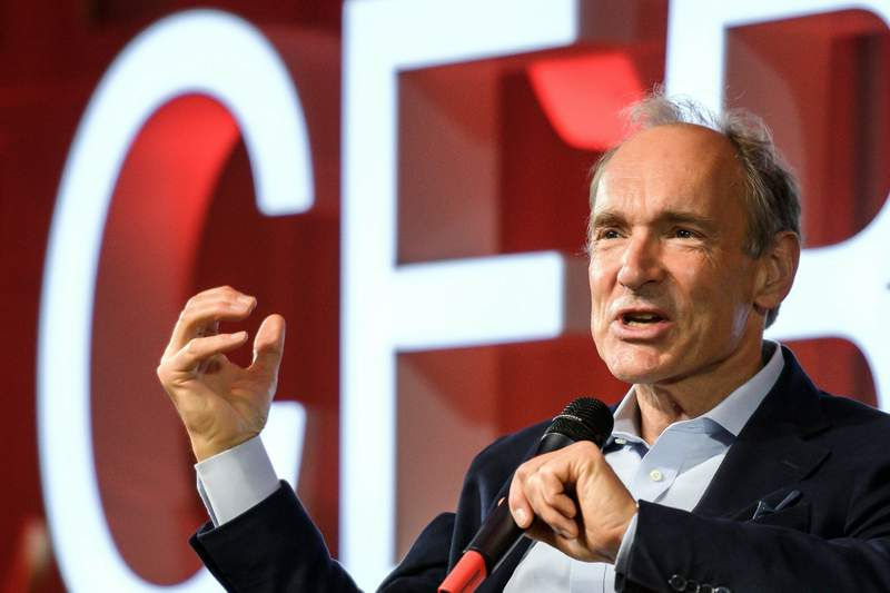 FILE - In this March 12, 2019, file photo, English computer scientist Tim Berners-Lee, best known as the inventor of the World Wide Web, delivers a speech during an event at the CERN in Meyrin near Geneva, Switzerland, marking 30 years of World Wide Web. Berners-Lee said Thursday, June 11, 2020 the COVID-19 pandemic demonstrates the gross inequality of a world where almost half the population is unable to connect, telling a high-level U.N. meeting our number one focus must be to close the digital divide. (Fabrice Coffrini/Pool, Keystone via AP, File)