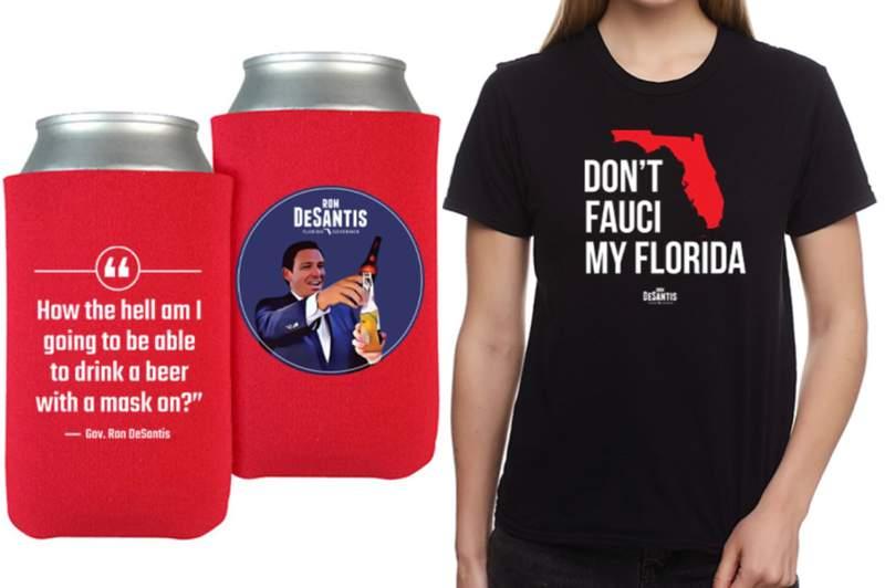 New merchandise from Florida Governor Ron DeSantis is causing a buzz online. Photos: Ron DeSantis Campaign Store.